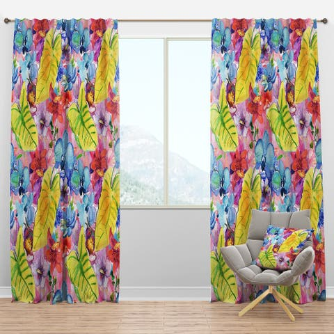 Designart 'Tropical Yellow Leaves and Blue and Red Flowers' Floral Blackout Curtain Panel