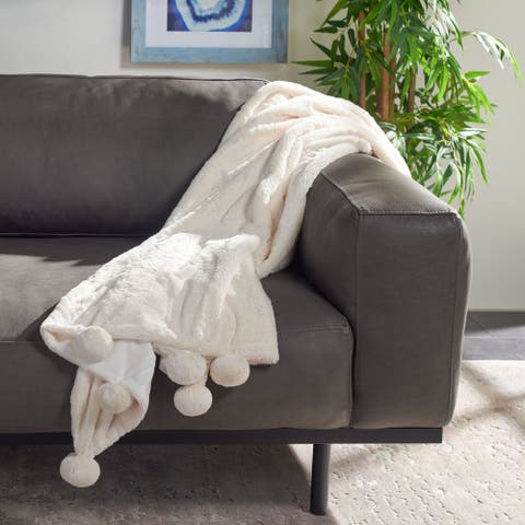 SAFAVIEH Dalson Pom Pom 50 x 60-inch Throw Blanket