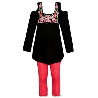 Little Girls Black Pink Flower Print Cold Shoulder Top 2 Pc Pant Outfit