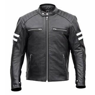 Men Classic Leather Motorcycle Jacket MBJ032-Blk