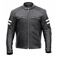 Men Classic Leather Motorcycle Jacket MBJ032-Blk