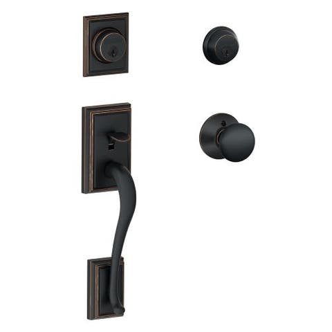 Schlage F62-ADD-PLY Double Cylinder Addison Handleset with Plymouth Interior Knob from the F-Series