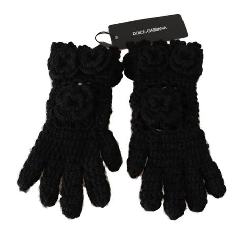 Dolce & Gabbana Black 100% Cashmere Knitted Floral Warm Women's Gloves - 7-s