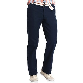 Izod Saltwater Straight Fit Flat Front Chinos Pants Midnight Blue 32 x 32