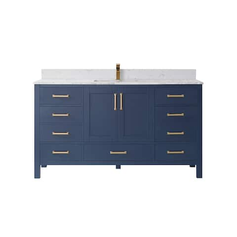 """Shannon 60"""" Single Vanity in Royal Blue and Composite Carrara White Stone Countertop Without Mirror"""