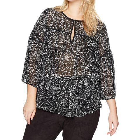 Lucky Brand Black Women's Size 1X Plus Printed Bell-Sleeve Blouse