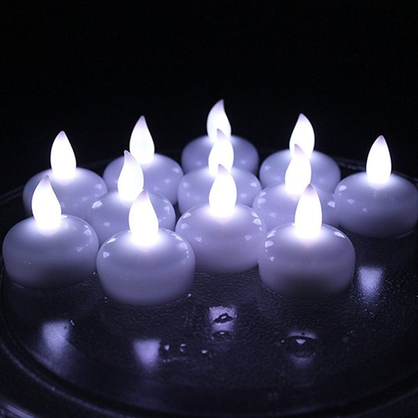 AGPtek Lot 12 LED Floating Tea Waterproof Wedding Party Floral Decoration Candle White