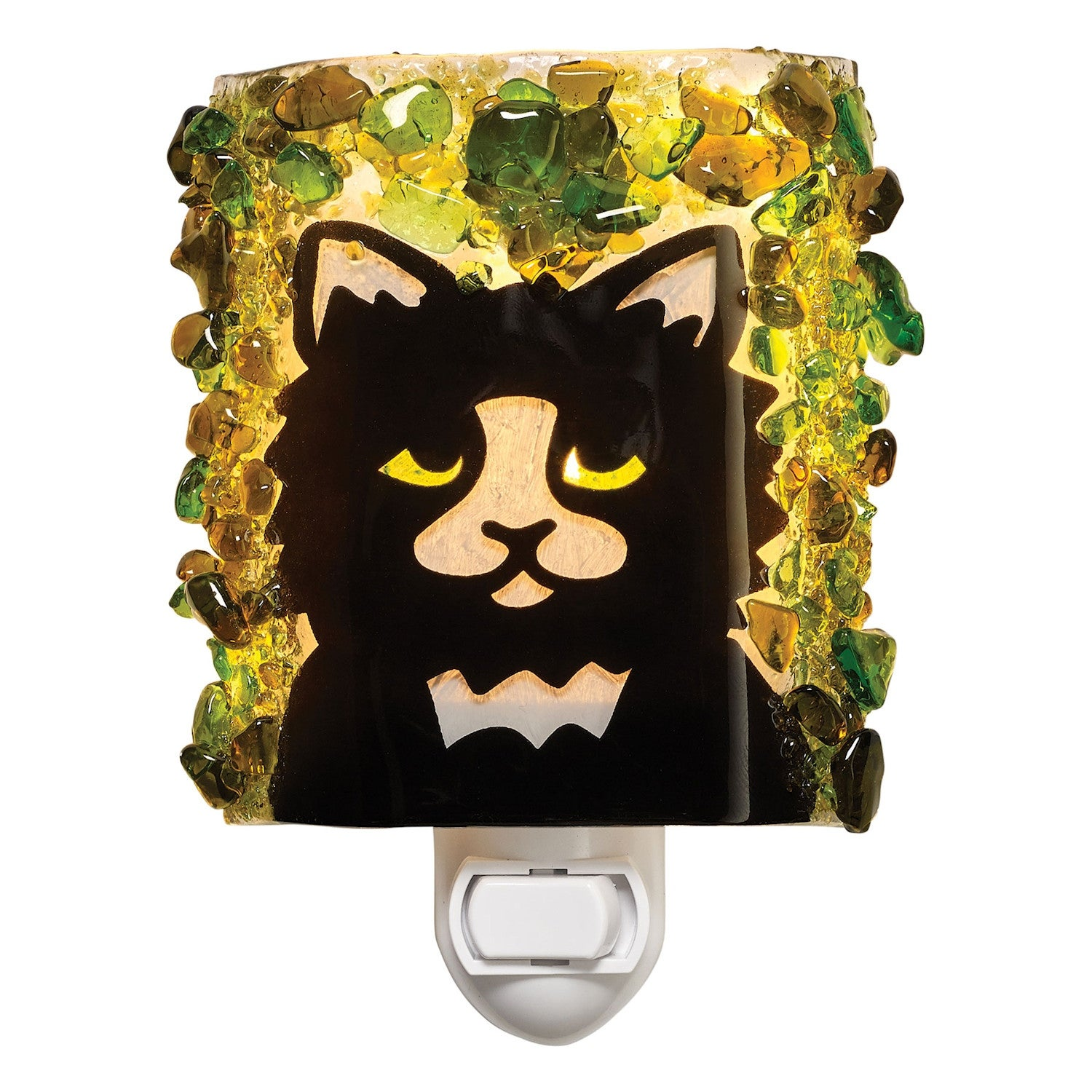 Reborn Glass Black Cat Night Light Handmade Fused Art Glass Night Lamp Plug In With On Off Switch Overstock 25621366