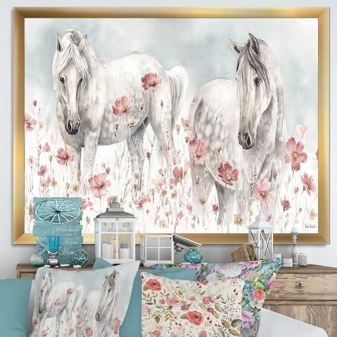 Designart 'watercolors Pink Wild Horses' Farmhouse Premium Framed Art Print
