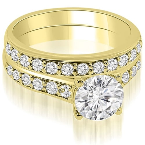 1.10 cttw. 14K Yellow Gold Cathedral Round Cut Diamond Bridal Set