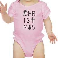 Letters Christmas Baby Bodysuit Cute Holiday Gifts For New Parents - Pink