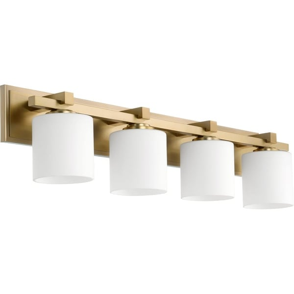 Quorum International 5369-4 4 Light Bathroom Vanity Light with Satin Opal Shades