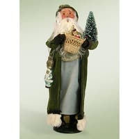 """13.5"""" Glittered Vintage Sage Santa with Frosted Christmas Tree and Basket Christmas Figure"""