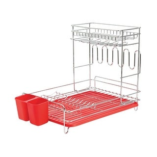 Etna Products Two Tier Dish Rack - Multi Level Drainer for Dishware and Flatware -Red - Red - 18 in. x 13 in. x 10 in.