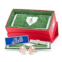 New York Mets Cufflinks, Money Clip and Tie Bar Gift Set - Multicolored