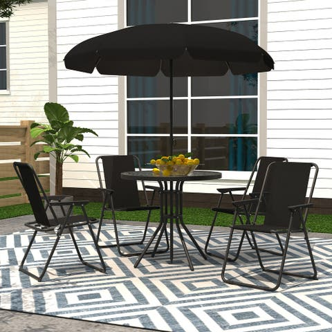 6 Pieces Outdoor Patio Dining Set with Umbrella, 4 Foldable Steel Chairs with Glass Table