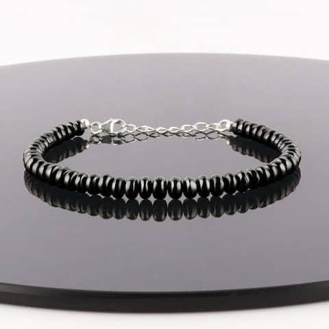 Shungite Bracelet 925 Sterling Silver Healing Gemstone Root Chakra Women Jewelry