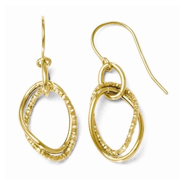 Italian 10k Gold Polished and Textured Shepherd Hook Dangle Earrings