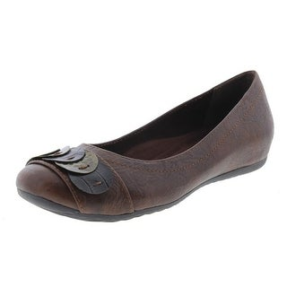 Easy Street Womens Charlotte Faux Leather Slip On Ballet Flats