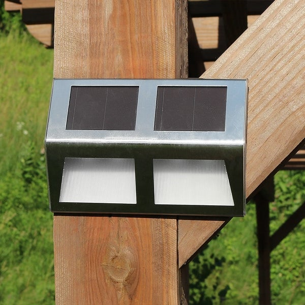 Sunnydaze Stainless Steel Solar Security Mounted Stairway Path Lights - Set of 6