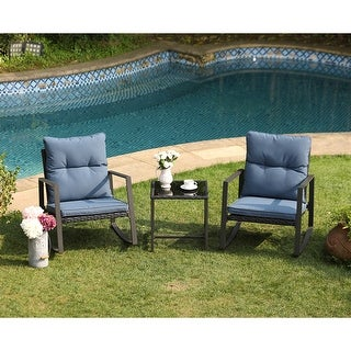 COSIEST 3 Piece Outdoor Bistro Set Rocking Chairs w Blue Cushions