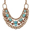 Copper Aqua & Brown Beads Multistrand Necklace - 16in - Thumbnail 0