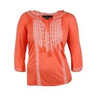 INC International Concept Womens Embroider Cold Shoulder Top - Coral Floral - 0X