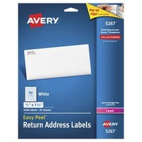 Avery Easy Peel Permanent-Adhesive Return Address Labels For Laser Printers, 1/2 x 1-3/4 in, White, Pack of 2000