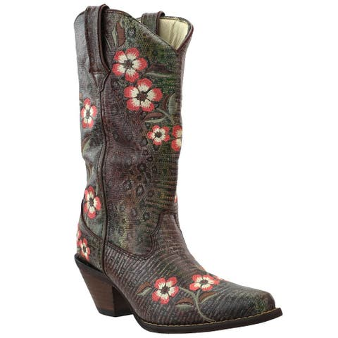 Durango Crush Floral Embroidered Western Womens Western Cowboy Boots