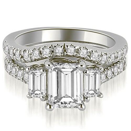2.00 cttw. 14K White Gold Lucida Three-Stone Diamond Emerald Cut Bridal Set