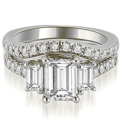 14k White Gold Lucida Three Stone Diamond Emerald Cut Bridal Set Hi