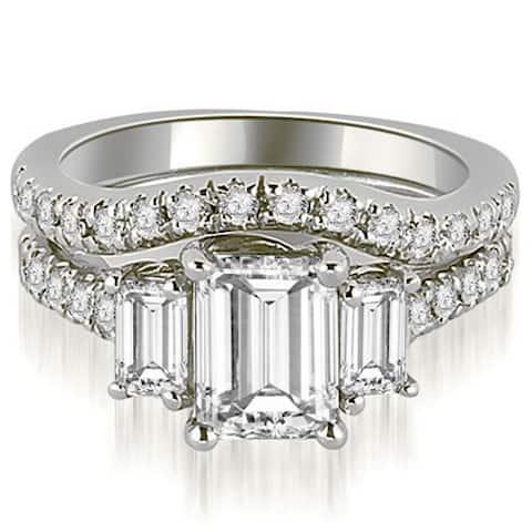 14K White Gold 2.25 CT Lucida Three-Stone Diamond Emerald Cut Bridal Set