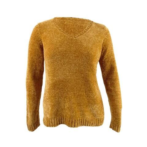 Karen Scott Women's V-Neck Chenille Sweater (L, Golden)