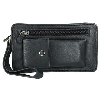 Winn International Men's Leather Slimline with Wrist Strap Man Bag, Black - One size