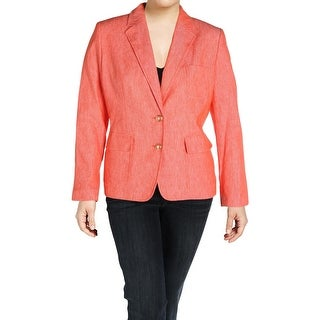 Nine West Womens Two-Button Blazer Heathered Linen