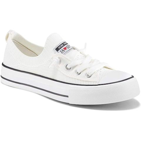 Womens Fashion Sneakers Slip On Shoes Knit Walking Comfortable Shoes Classic Flat Women Tennis Shoes - 7