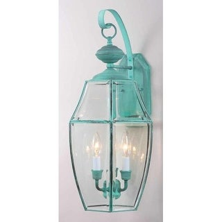 "Volume Lighting V9910 3 Light 24"" Height Outdoor Wall Sconce with Clear Beveled Glass"