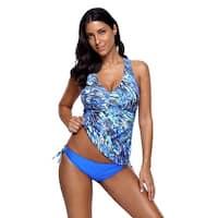 Cali Chic Women's Two Piece Swimsuit Tankini Celebrity Blue Sea Cami Swimwear for Women