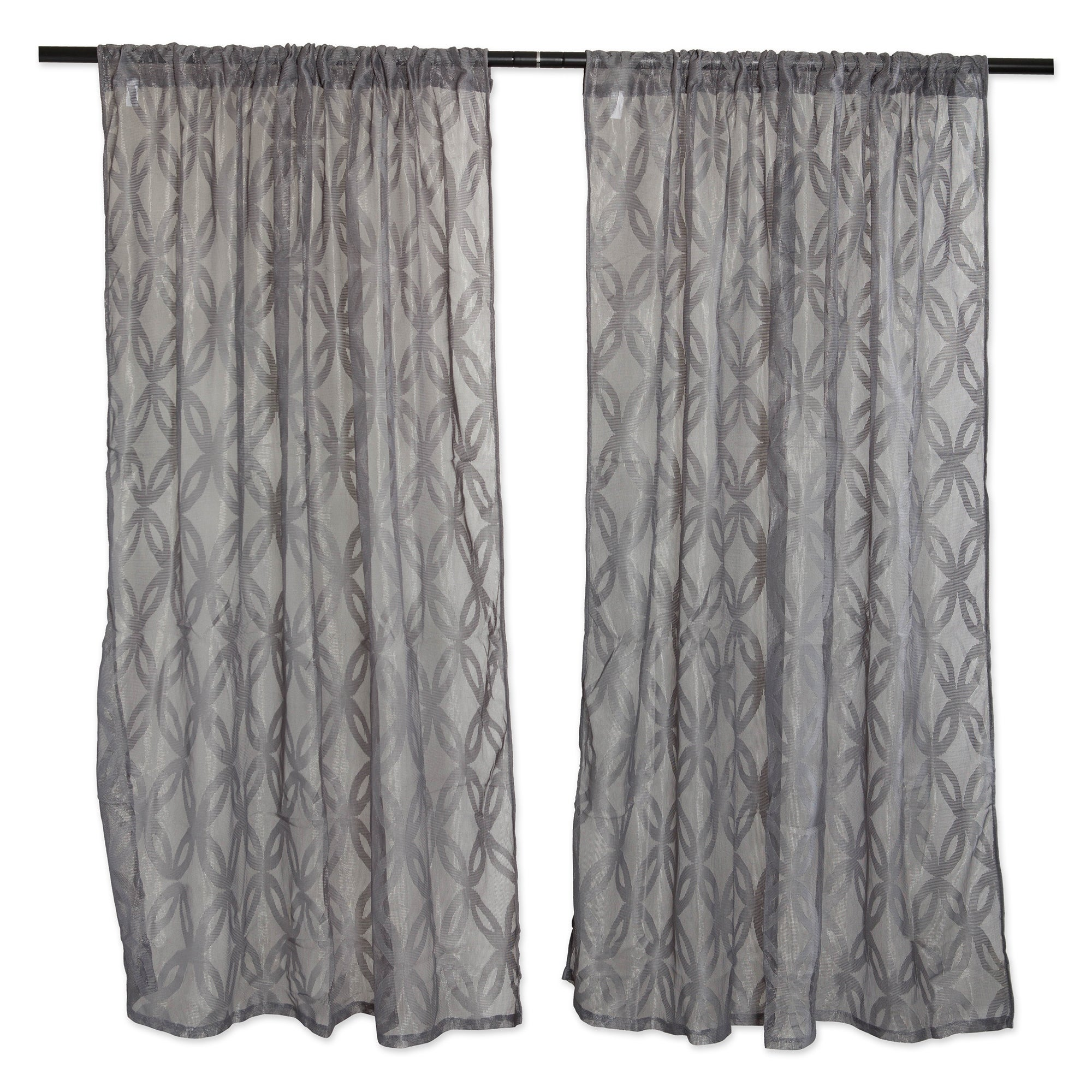 Set Of 2 Gray Modern Rustic Lace Window Curtains 50 X 63 Overstock 31790113