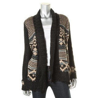Hippie Rose Womens Juniors Printed Open Front Cardigan Sweater - L