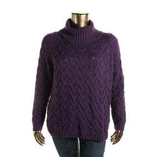 G.H. Bass & Co. Womens Woven Marled Turtleneck Sweater - XL