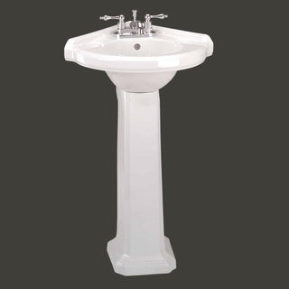 Small Corner Bathroom White Pedestal Sink Vitreous China | Renovator's Supply