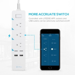Link to KioKi Smart Power Strip, 3 AC Outlets+2 USB Charging Ports - 1PACK Similar Items in Light Bulbs