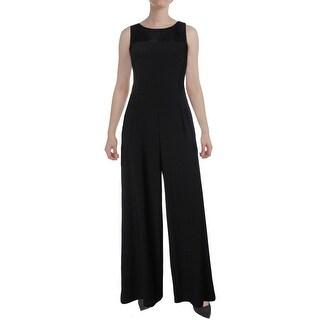 Ralph Lauren Womens Jumpsuit Wide-Leg Faux Leather Trim