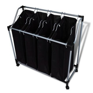 vidaXL Laundry Sorter with 4 Bags Black Gray