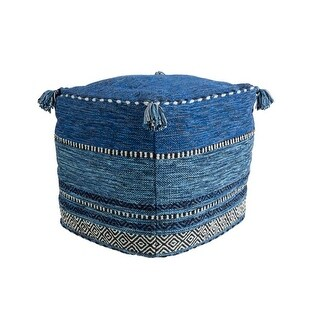 18Jean Blue, Icy White, and Jet Black Contemporary Woven Foot Stool Ottoman - Blue