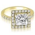1.46 cttw. 14K Yellow Gold Princess And Round Cut Halo Diamond Bridal Set - Thumbnail 1