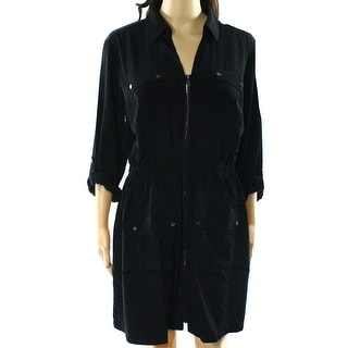 Alfani NEW Black Women's Size 12 Zip-Front Roll Tab Sleeve Shirt Dress