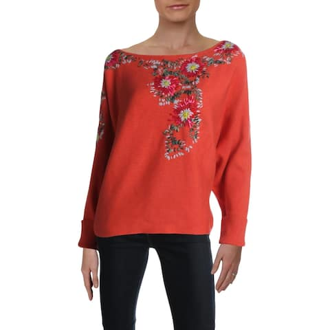 Free People Womens Crop Sweater Embroidered Dolman Sleeves