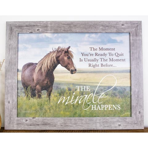 The Moment Your Ready To Quit Miracle Happens Framed Art Western Horse Equine Decor